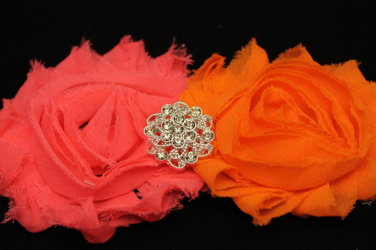 Neon Pink & Orange Shabby Headband