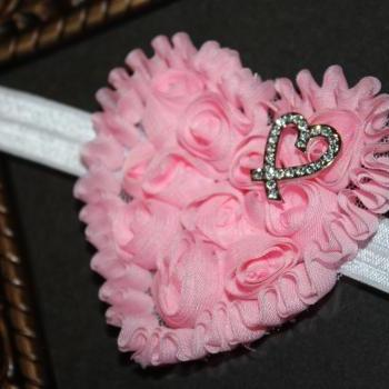 Valentine Pink Chiffon Heart Headband or Clip for Newborn Baby Infant Toddler Girl