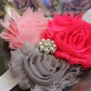Pink & Gray Shabby Flower Headband or Clip for Newborn Baby Infant Toddler Girl by miniME