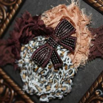 Brown Cheetah Print Shabby Headband or Clip