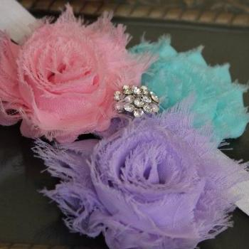 Pink Purple Blue Shabby Flower Headband or Clip by miniME