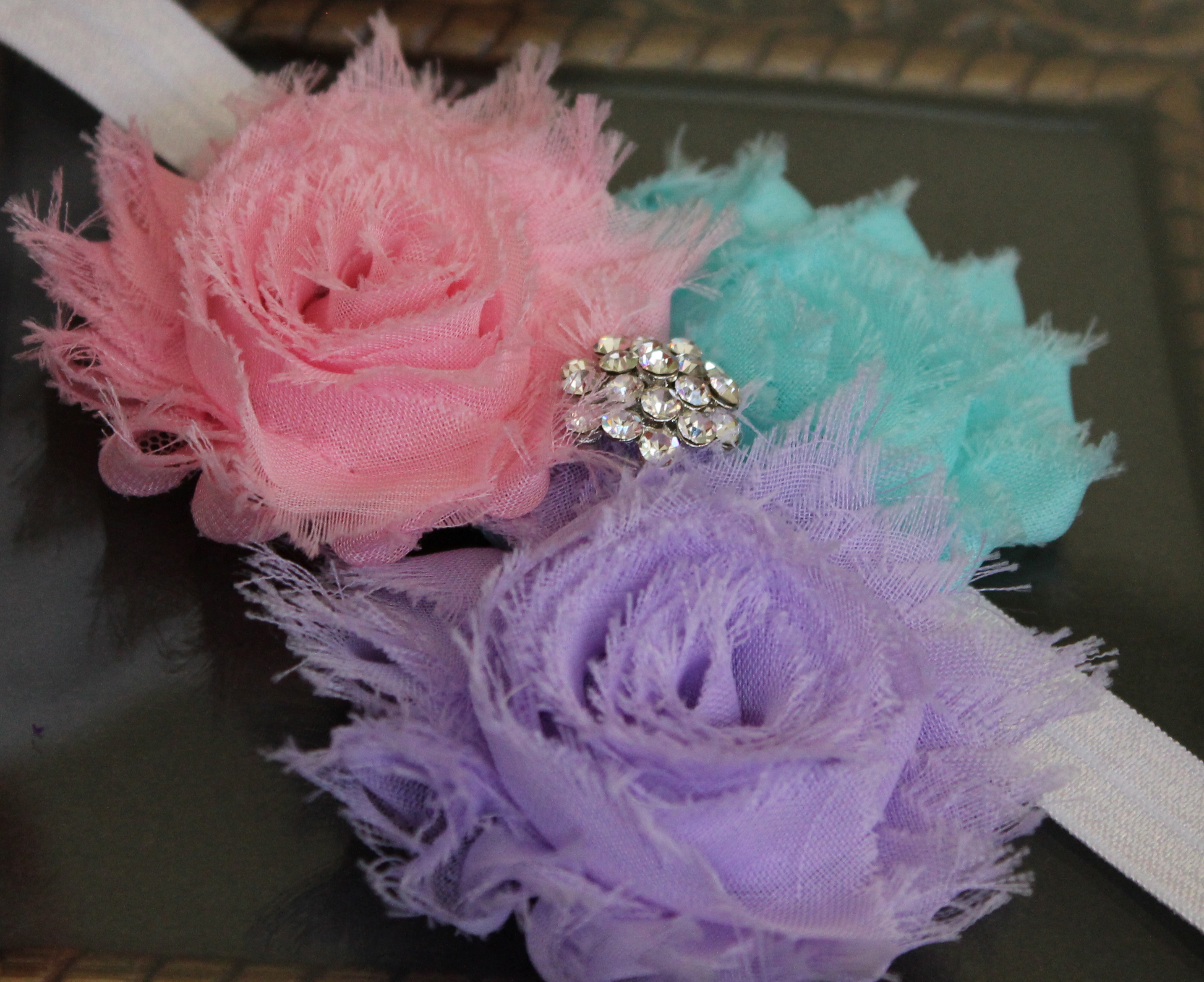 Pink Purple Blue Shabby Flower Headband Or Clip By Minime On Luulla